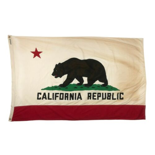 Tea Stained Cotton Vintage Style California Republic Bear State Cloth Flag New