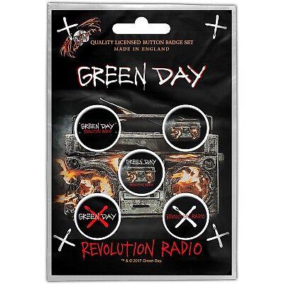 Green Day Revolution Radio pack of 5 round pin badges (ro)