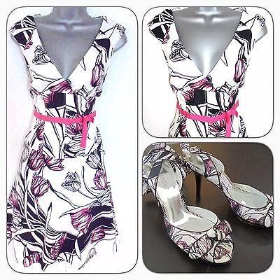 Karen Millen DG226 Tulip Floral Print Evening Occasion Dress 10 & Shoes UK 6 - D & G Occasions