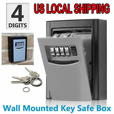 4 Digit Combination Hide Key Lock Box Storage Wall Mount Security Outdoor Case