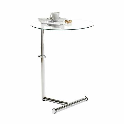 Couchtisch Beistelltisch Tisch Stehtisch höhenverstellbar in Klarglas und chrom