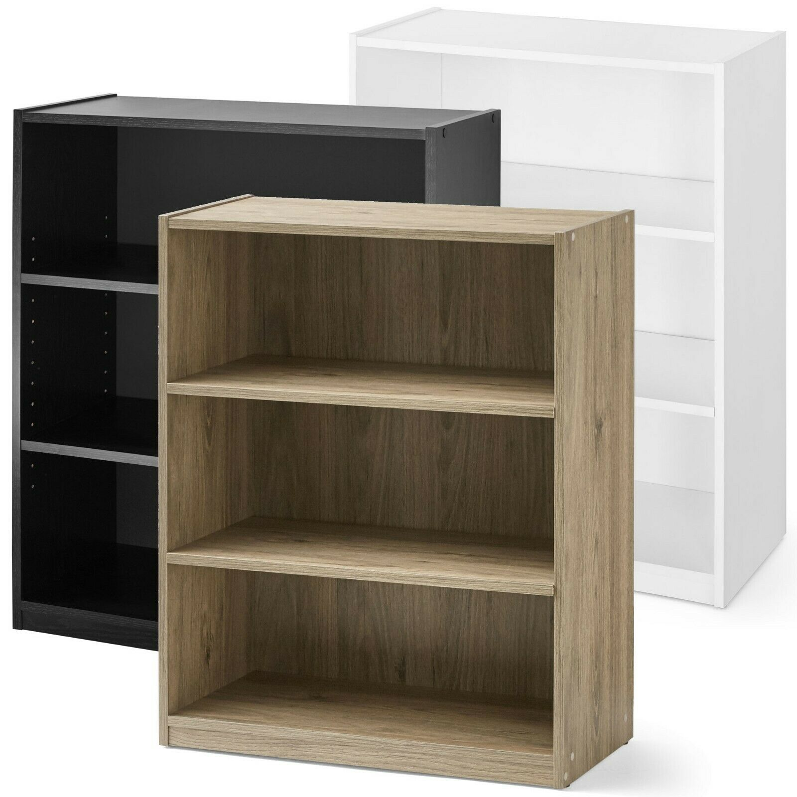 3-Shelf Wood Bookcase, Wide Storage Book Display Bookshelf A