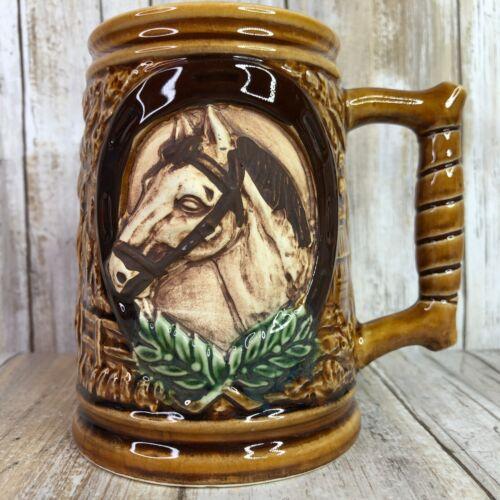 Vintage CMC 3D Relief Horse Coffee Mug Stein Brown Ceramic Western Horseshoe