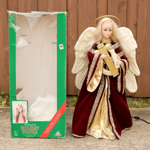Holiday Creations Animated Angel VIDEO Vtg 90s Christmas Motionette Red Gold Box
