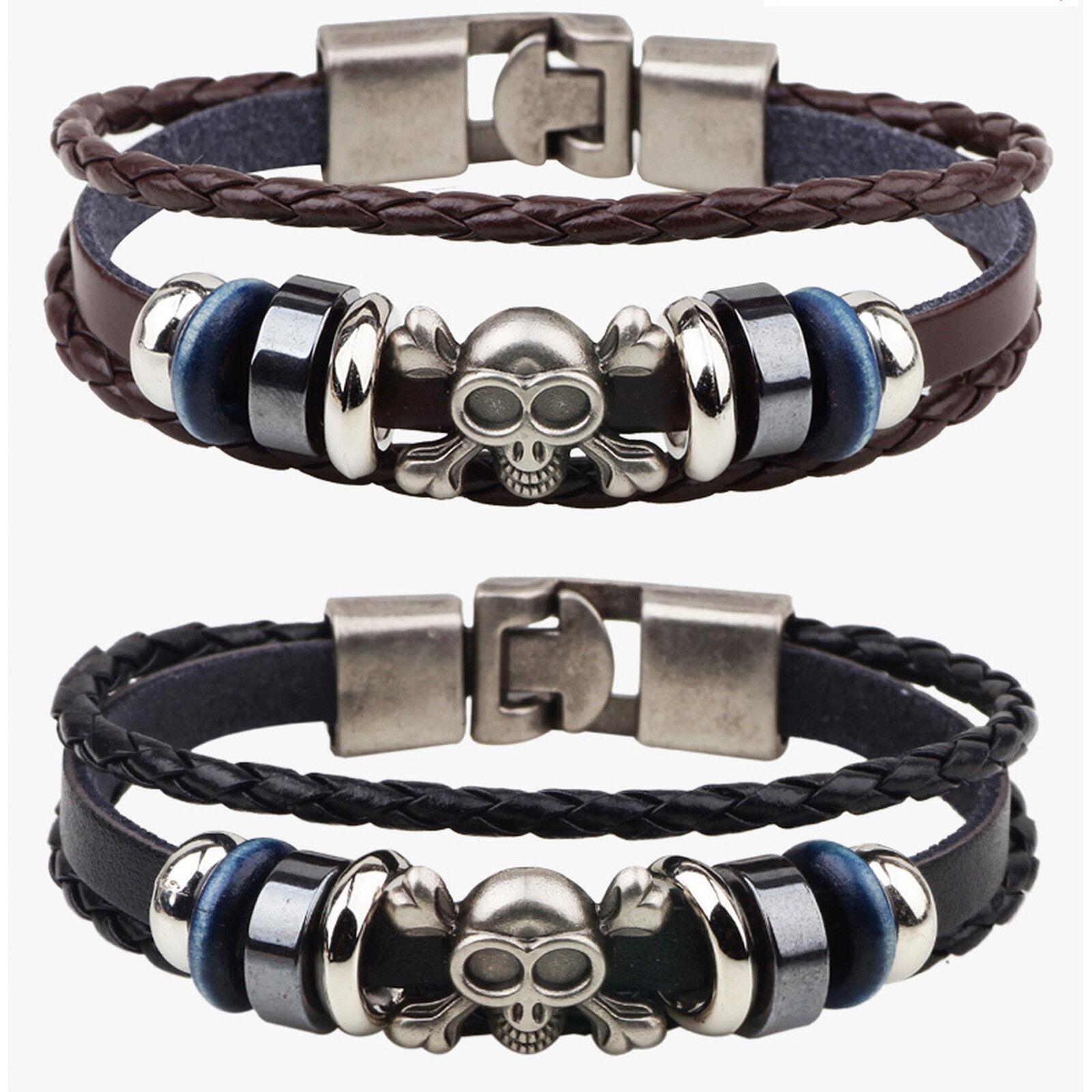 Men's Gothic Skull Crossbones and Beads Leather Wristband Bracelet Bracelets
