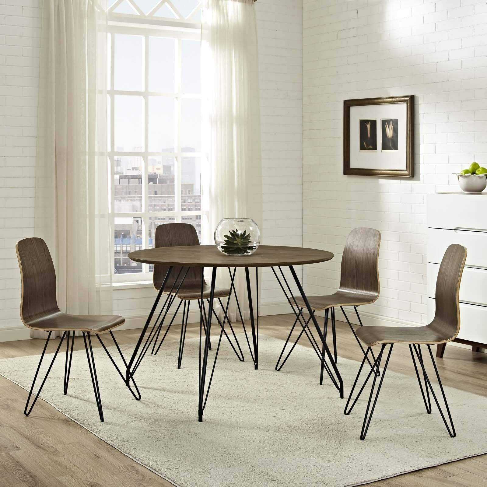 Details about Mid-Century Modern Walnut Laminate Round Dining Table With  Metal Hairpin Legs