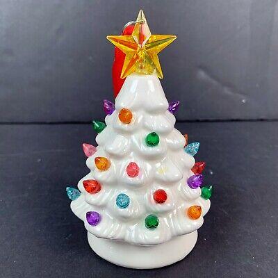 "Mr Christmas Lit Nostalgic Mini 5.5"" White Christmas Tree Ornament Light Up"