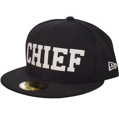 Brim Fitted Cap (New Era 59FIFTY Mens CHIEF Flat Brim Fitted Baseball Cap Hat - Black)