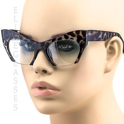 Cat Eye Eyeglasses Women Retro Vintage Razor Clear Lens Style Half Cut Off Frame (Retro Cat Eye)
