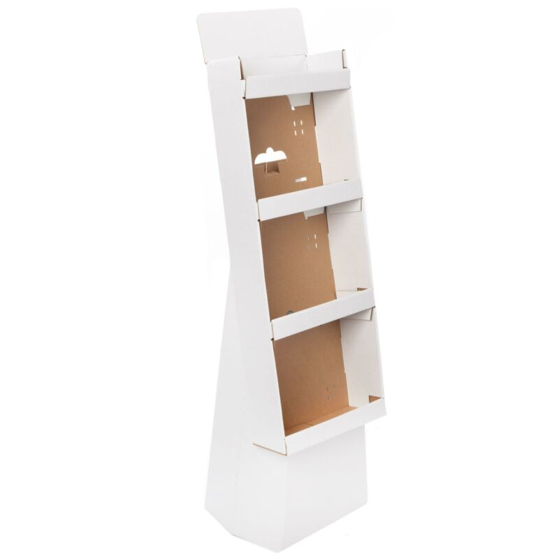 White Corrugate Cardboard 4-Shelf Retail Display Merchandising Stand