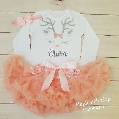 Personalised Baby Girls 1st Christmas Reindeer Outfit Tutu Costume peach set UK](Baby Christmas Reindeer Outfit)