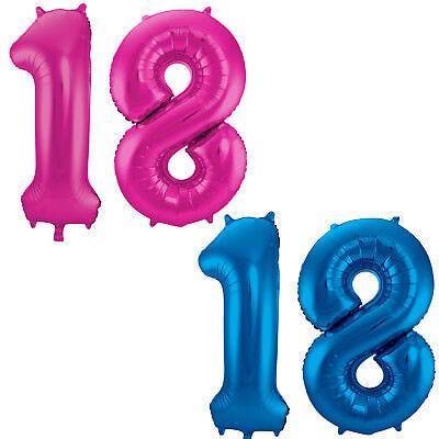 allons 86cm Deko 18. Geburtstag Luftballons zum 18 pink blau (18 Folienballons)