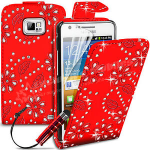 DIAMOND LEATHER FLIP CASE COVER & SCREEN PROTECTOR FITS SAMSUNG GALAXY S2 i9100