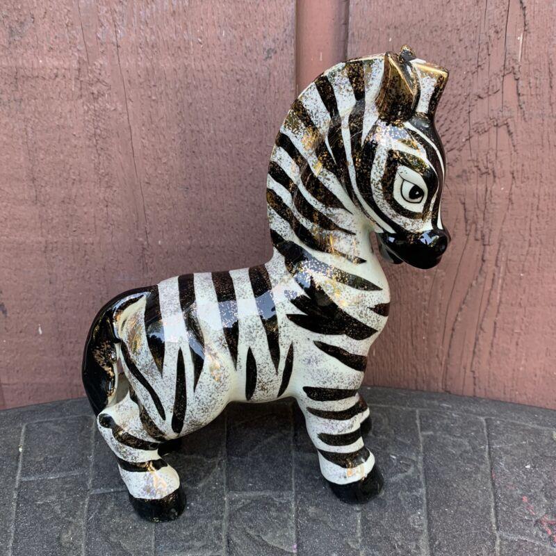 Vintage Hand-Painted Porcelain Ceramic Zebra Figurine