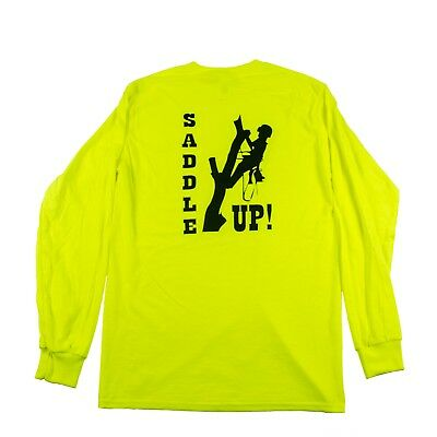 Tree Climbers Long Sleeve Safety Green Shirt Saddle Up Graphic On Back Xl