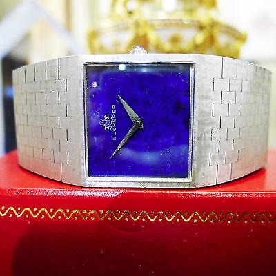 Men's Vintage BUCHERER 18k White Gold Manual Wind Lapis Lazuli Dial Watch 108 Gr