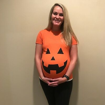 maternity pumpkin shirt funny halloween pregnant pregnancy top tee announcement](Maternity Halloween Pumpkin Shirts)