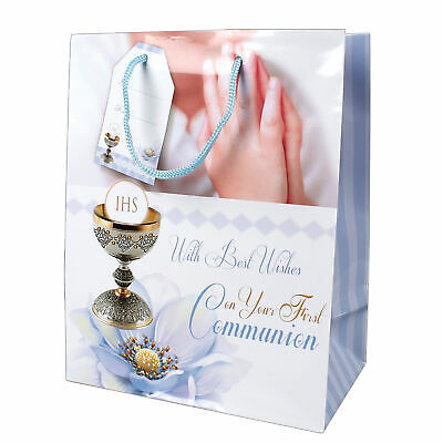 Gift Bag 23x18cm First Holy Communion - Religious Occasion - Blue (First Communion Gift Bags)