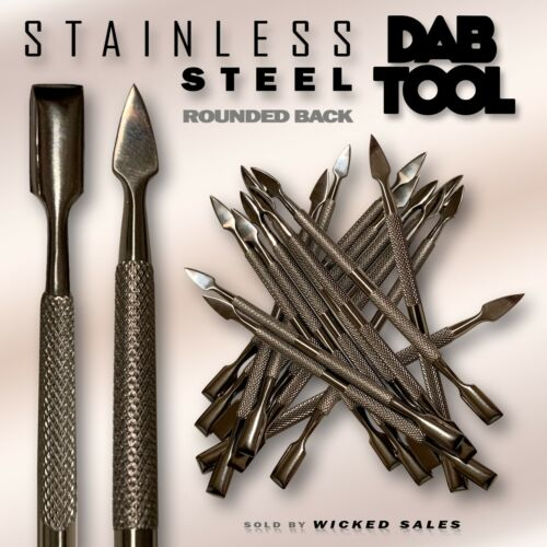 """H/D SILVER Stainless Steel Dab Dabber Tool 4.75"""" Point/Scrape Ends Nail Wax Rig"""