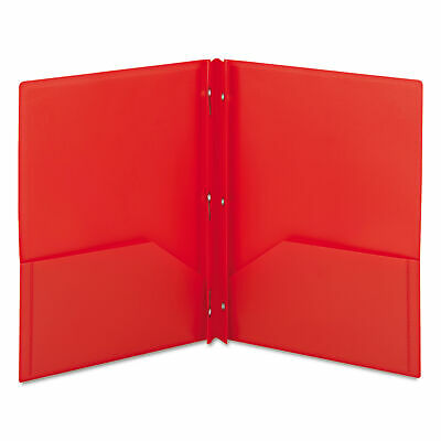 Poly Two-pocket Folder With Fasteners 8-12 X 11 Red 25box