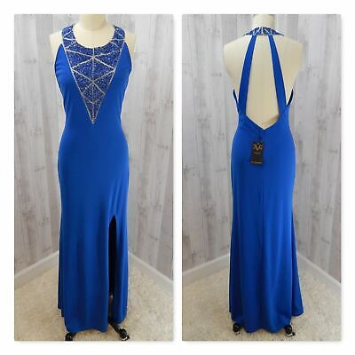 NWT Versace 19V69 Italie GOWN~Royal Blue Beaded/Sequins Illusion Prom Fitted M/L