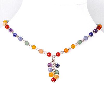 Dangle Multi Chain Necklace - 7 Chakra Multi Gemstone Chain Necklace, Dangling Pendant