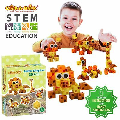 Click-A-Brick Animal Kingdom 30pc Building Blocks Set | Best STEM Toys for