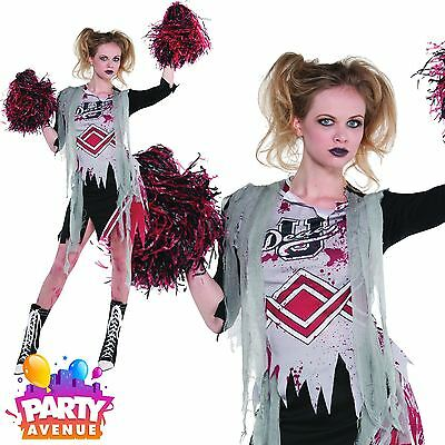 Womens Halloween Zombie Cheerleader Ladies Fancy Dress Costume