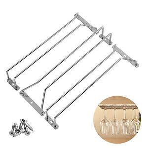 Wine Rack Glass Holder 3pcs Hanging Bar Hanger Iron Shelf Free 6pc Screws New
