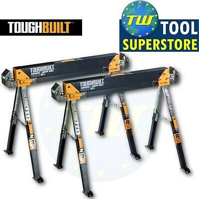 2x ToughBuilt TOU-C700 C700 Adjustable Leg Folding Saw Horse Trestle Twin Pack