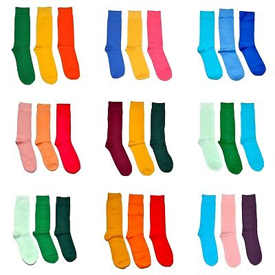 3 Pairs Men's Colorful Dress Socks Solid Color Assorted - Wedding Party Costume](Pairs Costumes)
