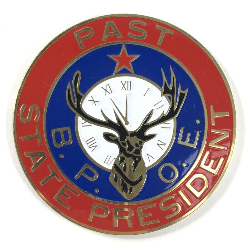 "Elks Club Lodge Past State President BPOE Hard Decal / Sticker 2 3/4"" Vintage"