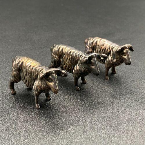 Vintage Three Sheep Sterling Silver Miniature Figure Set