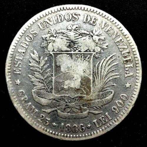 1886- VENEZUELA 5 BOLIVARES (25 GRAM) .900 Silver Coin #2  Y#24.1.