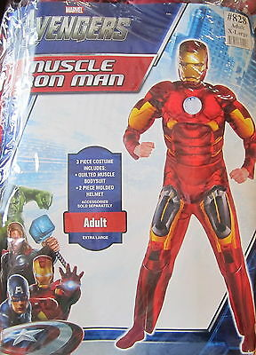 Erwachsene Avengers Kostüm (The Avengers Iron Man Muskel Erwachsene Kostüm Größe XL 42-46 Brandneu)