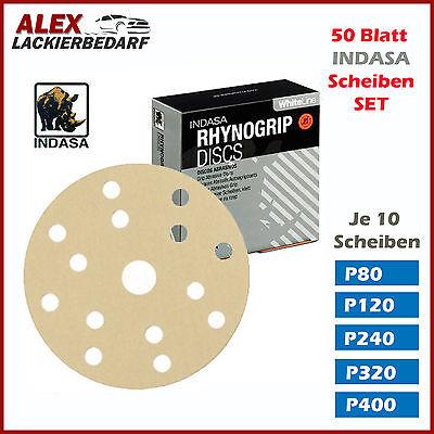 50x Indasa Schleifscheiben SET P80 - P400 Ø 150 mm 15-Loch klett schleifpapier