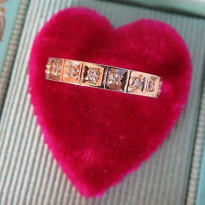 14K VINTAGE ART DECO OLD CUT DIAMOND ETERNITY BAND WEDDING ANNIVERSARY RING