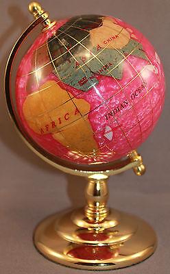 Genuine Multi-Gemstone Desktop Globe Gold Tone Base Rose Red Globe Free S & H