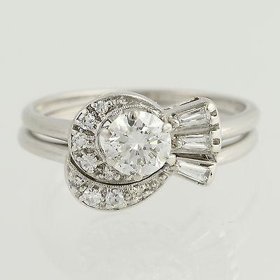 Vintage Diamond Engagement Ring & Wedding Band - 14k White Gold .78ctw
