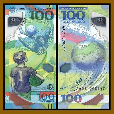 Russia 100 Rubles, 2018 FIFA World Cup Soccer Football P-NEW Polymer Unc