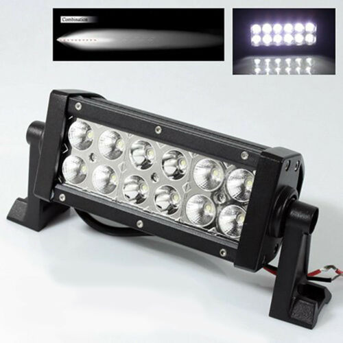 "7.5"" 36W White 4D Dual Row 12-LED Spot Flood Light Bar Off Road Truck 3240 Lumen"