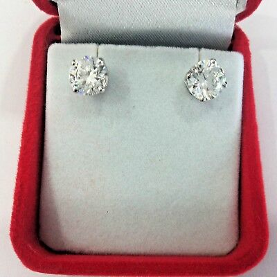 Real 1 Carat Round Cut Diamond Earrings Studs 14K Solid White Gold  H I VS1 for sale  Shipping to Canada