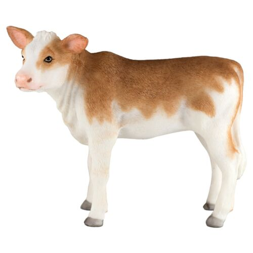 """Ayrshire Dairy Calf Cow Figurine 5"""" Long Detailed Polystone Statue New In Box!"""