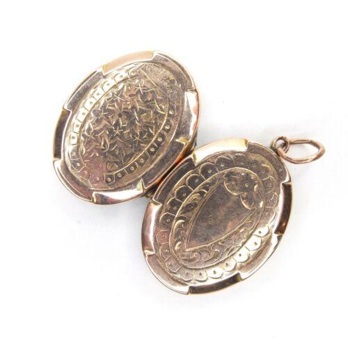 Quality Antique Edwardian 9CT Gold Locket 9ct Back & Front Locket Marked 3.2g