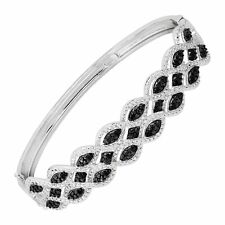 1/3 ct Black & White Diamond Bangle Bracelet in Rhodium-Plated Bronze, 7.5