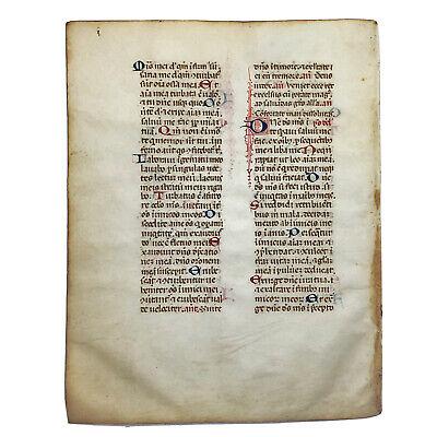 RARE 1460 Codex Manuscrit Leaf - Medieval Vellum Book Fragment Artifact Old