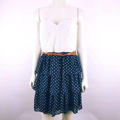 City Studio Blue White Lace Polka Dot Strapless Belted Dress Juniors Size 11 Junior Strapless Kleider
