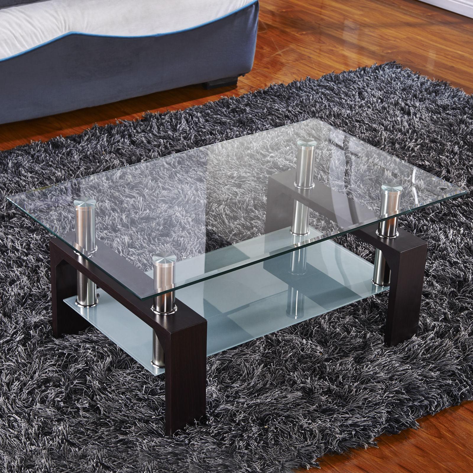 Designer Glass Coffee Table Rectangular Walnut Legs Chrome