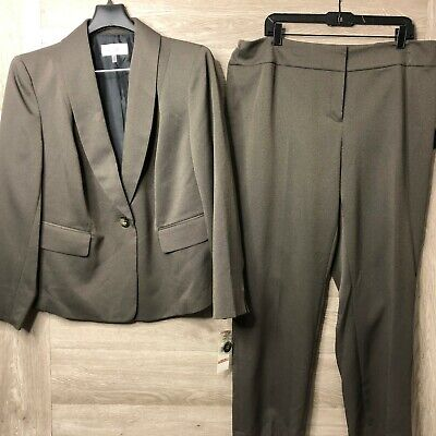 Le Suit Women's Size 14W Shawl Collar Novelty Pant Two Piece Suit Khaki NEW