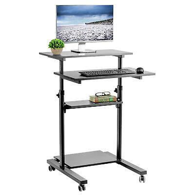 VIVO Black Mobile Height Adjustable Stand Up Desk Workstation Presentation Cart Presentation Cart Office Furniture